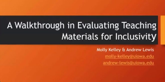A Walkthrough in Evaluating Materials for Inclusivity {VIDEO}